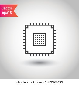 Processor vector icon. CPU microprocessor flat sign. Computer chip symbol. EPS 10 micro chip flat pictogram