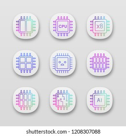 Processors app icons set. UI/UX user interface. Dual, octa, quad, six core chips, CPU, sad processor, integrated circuit, AI microprocessor. Web or mobile applications. Vector isolated illustrations