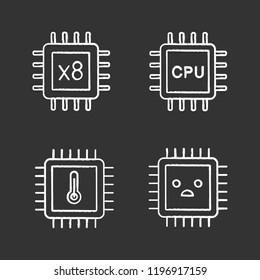 Processors chalk icons set. Octa core, CPU processors, microprocessor temperature, sad chip. Isolated vector chalkboard illustrations