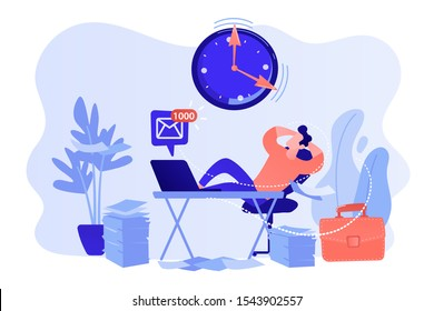Procrastinating businessman sitting with legs on office desk postponing work. Procrastination, unprofitable time spending, useless pastime concept. Pinkish coral bluevector isolated illustration