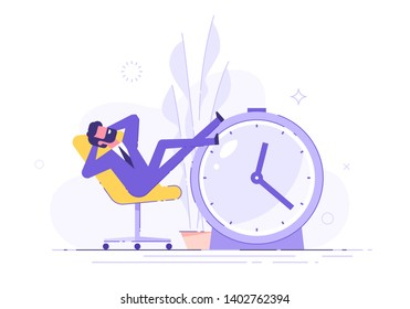 Procrastinating man sitting in the office with his legs up on an alarm watch. Procrastination and laziness concept. Vector illustration.