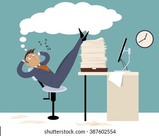 Procrastinating man sitting in the office with his legs up on a pile of papers, whistling and daydreaming, EPS 8 vector illustration