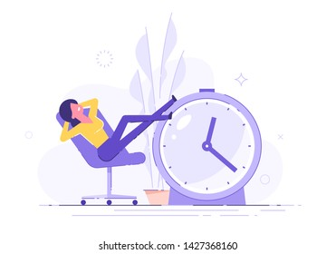 Procrastinating woman sitting in the office with her legs up on an alarm watch. Procrastination and laziness concept. Vector illustration.
