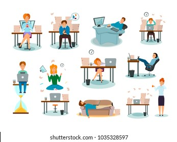 Procrastination characters overwhelmed with work delaying tasks sleeping in workplace distracted symptoms cartoon icons collection vector illustration