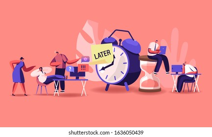 Procrastination Concept. Procrastinating Lazy Businesspeople Employees Sleeping and Sitting at Workplace with Legs on Office Desk Postponing Work Unprofitable Time. Cartoon Flat Vector Illustration