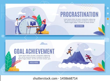 Procrastination and Goal Achievement Header Banner Set. Effective Time Schedule and Management. Man Sleeping at Work and Angry Boss Shouting. Employees Climbing Mountain Top. Vector Flat Illustration