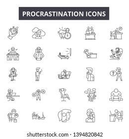 Procrastination line icon signs.  Linear vector outline illustration set concept.
