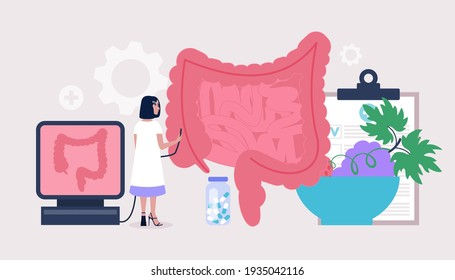 Proctology, Coloproctology concept. Young woman checks intestine. Colorful flat vector illustration
