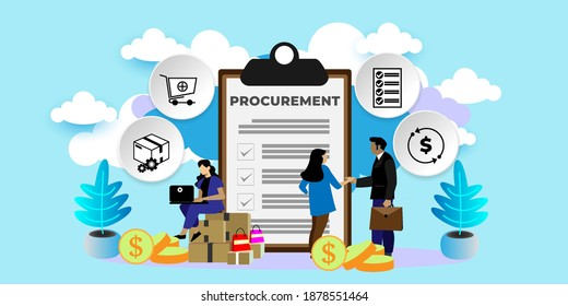 Procurement Process of Purchasing Goods, Procurement Management Industry concept  With icons. Cartoon Vector People Illustration