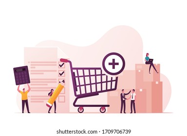 Procurement Process of Purchasing Goods or Services with Tiny Male and Female Business Characters with Huge Shopping Trolley, Calculator and Pean Making Deal. Cartoon People Vector Illustration