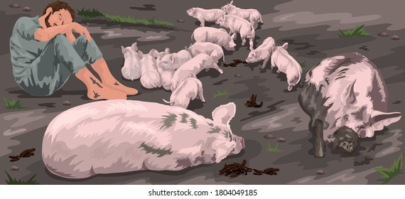 The Prodigal Son Is Sent Into The Fields To Feed The Pigs But No One Gives Him Anything (Luke 15)