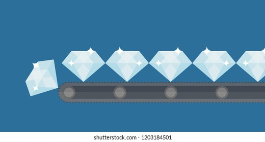 produce & create diamonds on line vector in industrial factory shop flat design for beauty & fashion or business & finance cartoon. trading isolated. Treasure Worth money. prestige Expensive concept