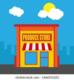produce store front exterior facade.flat design.produce store building - produce store icon