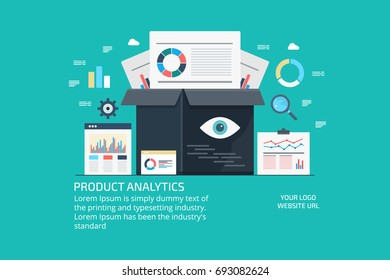 Product analytics, product marketing, data driven marketing, business data analysis flat vector illustration with icons
