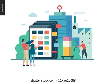 product catalogue - modern flat vector illustration concept of customers choosing a product Website interaction and product line. Creative landing page design template