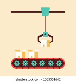 Product conveyor with box and lift on the row. Flat design vector illustration.