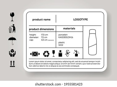 Product description sticker. Dimension and material descriptor. Cargo label. Shipping icons. Package brand depiction. Industrial design specification. Vector illustration mockup.
