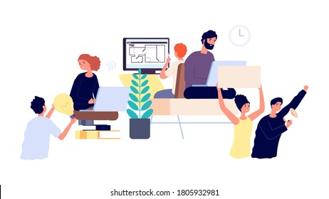 Product developers. Business project implementation from idea to launch. Teamwork, people working step by step. Idea and marketing, freelancers chain vector illustration
