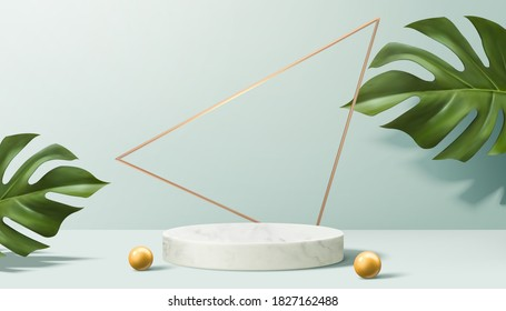 Product display podium decorated with pearls and leaves on aqua blue, 3d illustration
