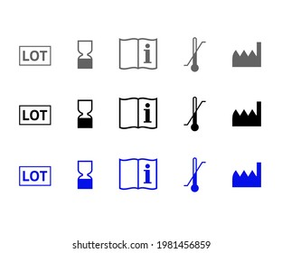 Product icon set to be consumed preferably by the date and sign for Factory. Symbols in the shape of Hourglass, Lot, Expiry, Manufacturer, Ideal storage temperature and Instructions Manual.
