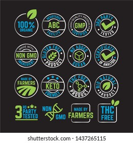Product Label certification vector icon set.  Organic package element collection.