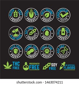 Product Label certification vector icon set. Organic package element collection