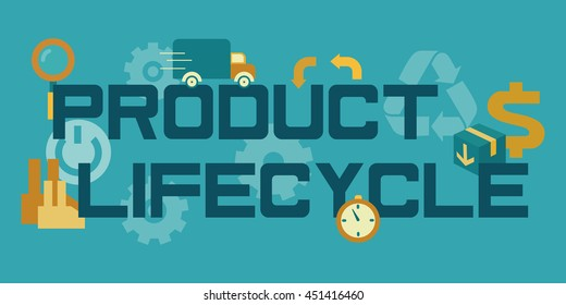 Product life cycle flat lettering. Business administration product lifecycle concept. Flat design banner. Vector illustration.