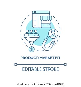 Product, market fit blue concept icon. Consumer demand satisfaction. Attract customers. Startup launch abstract idea thin line illustration. Vector isolated outline color drawing. Editable stroke