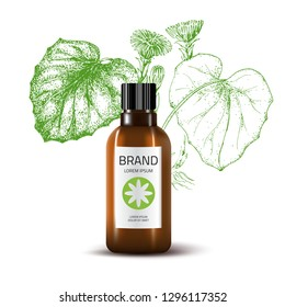 Product Mockup and sketch medicinal herbs. Coltsfoot. Green vector background. Сosmetic pharmacy bottle. 3d realistic illustration. Health care product.