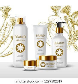 Product Mockup and sketch medicinal herbs: dandelion, coltsfoot. Vector floral background. Сosmetic bottles. 3d realistic illustration. White tube, spray and jar of cream. Skin care natural product.