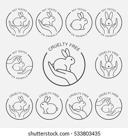 Product not tested on animals icons. Hand holding rabbit