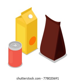 Product package isometric 3D icon. Supermarket food shopping symbol, product packing isolated vector illustration.