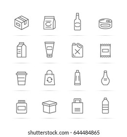 product package vector line icons, minimal pictogram design, editable stroke for any resolution