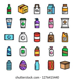 product packaging pixel perfect color line icons; vector line editable stroke