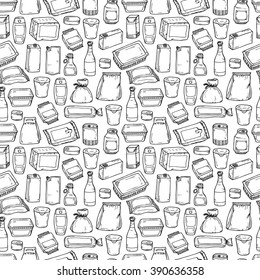 Product packaging Vector Seamless Pattern. Food and drink Packing. Hand Drawn doodle: cans and bottles, plastic boxes, cardboard and paper package blank objects