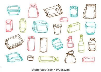 Product packaging Vector set. Mock Up Template Food and drink Packing. Hand Drawn doodle: cans and bottles, plastic boxes, cardboard and paper package blank objects