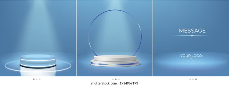 Product placement backdrop with lit pedestal and podium on blue background for social media marketing.