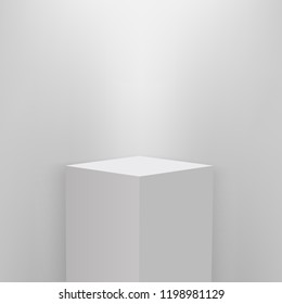 Product presentation podium illuminated with light, white stage, Empty white pedestal, blank template mockup. vector