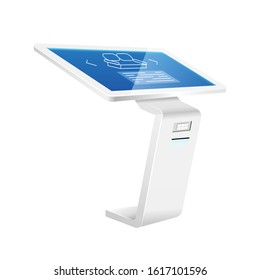 Product promotion kiosk realistic vector illustration. Interactive presentation equipment flat color object. Digital board with sensor display isolated on white background. Commercial promo panel