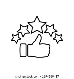 Product ratings five stars, quality rating, feedback, premium icon flat logo in black on isolated white background. EPS 10 vector