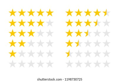 Product ratings set with gold stars, vector illustration