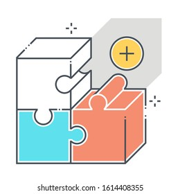 Product related color line vector icon, illustration. The icon is about  market, fit, jigsaw, puzzle, solving, box. The composition is infinitely scalable.