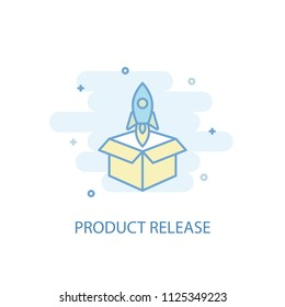 Product release trendy icon. Simple line, colored illustration. Product release symbol flat design from Startup set. Can be used for UI/UX
