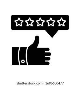 Product review black glyph icon. Thumbs up. Five star film. Excellent quality. Customer satisfaction rate. Assessment and evaluation. Silhouette symbol on white space. Vector isolated illustration