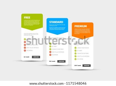 product service price comparison cards description stock vector