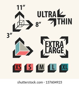 Product size icons set. Vector illustration