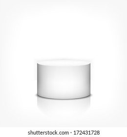 Product stand 3d cylinder on white background with reflection