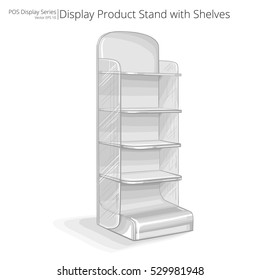 Product Stand with shelves. Vector, Illustration of a Product Stand with shelves. Sketch style. POS series.