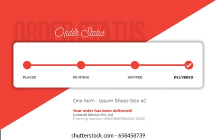 Product Tracking Status. Order and Delivery progress bar with Textbox Template.