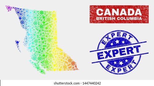 Production British Columbia map and blue Expert scratched seal. Colorful gradiented vector British Columbia map mosaic of mechanics. Blue rounded Expert seal.